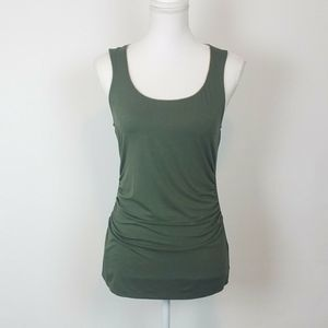 WHBM Tank Top Small Green Ruched Sides Gold Trim